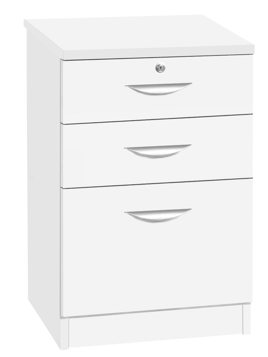 Home Office Furniture UK Three Drawer Unit Wooden Effect Filing Cabinet, Wood, White, Satin Profile, 54x60x83 cm R. White Cabinets Ltd. B-3CU-IN-WH