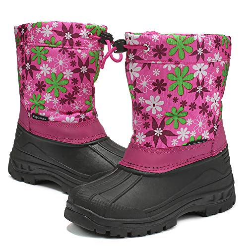 Price comparison product image DRKA Toddler Snow Boots for Kids Boy Girls,  Waterproof Insulated Rubber Warm Soft Winter Shoes for Outdoor Cold Weather(KT946-FUS-30)