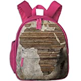 Vintage Wooden Plank Africa Map Double Zipper Waterproof Children Schoolbag With Front Pockets For Teens Boys Girl