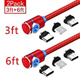 Magnetic Phone Charger Cable, 3 in 1 Cable, (2 Pack,3Feet+6Feet) (Red)