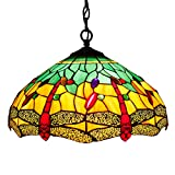 16P Tiffany Pendant Lamp Crystal Bead Dragonfly 16 Inch Sea Blue Stained Glass Shade for Dinner Room Hanging 2 Light (S009G Series)