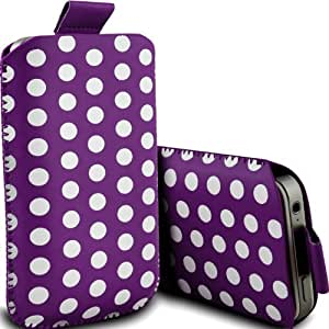 Nokia Lumia 610 Premium Protective Polka PU Leather Pull Tab Cord Slip In Pouch Pocket Skin Cover Quick Release Case Purple & White by Spyrox