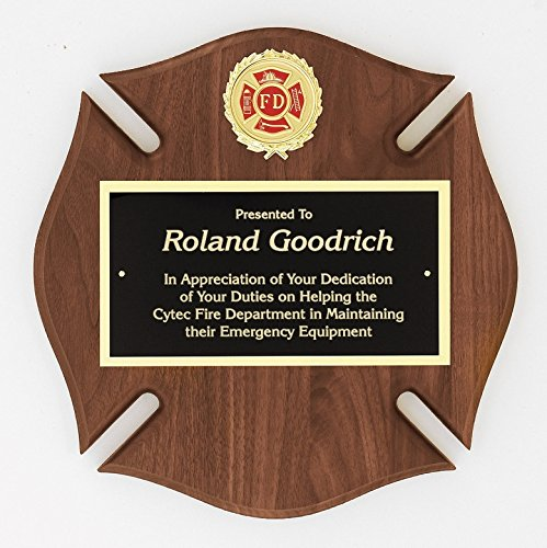 (Express Medals Customized Maltese Cross Fireman Firefighter Award Trophy Plaque)