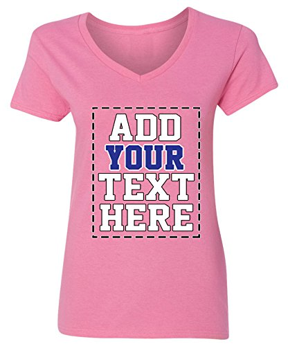 Custom V Neck T Shirts for Women - Make Your OWN Shirt - Add Your Number Text Printing (Make Your Own T Shirt)
