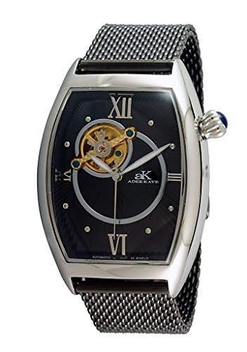 Adee Kaye AK6473 Men's Double Curve Skeletal Automatic Watch-Silver tone/Black dial/Black mesh band