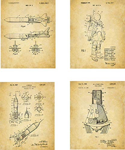 Space Patent Wall Art Prints – set of Four (8×10) Unframed – wall art decor for space enthusiasts