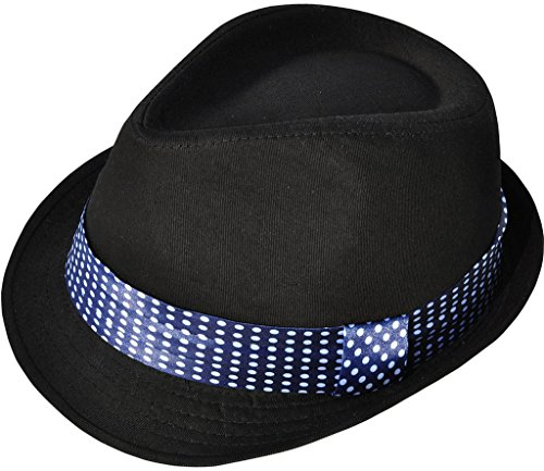 TAUT Manhattan Structured Classic Trilby Fedora Hat, Black/Dotted