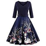 DressLily Women Swan Printed Belted Dress(Purplish Blue M) offers
