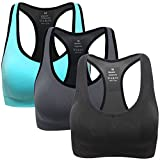 Mirity Women Racerback Sports Bras - High Impact Workout Gym Activewear Bra Color Black Grey Blue Size L, 3 Pack