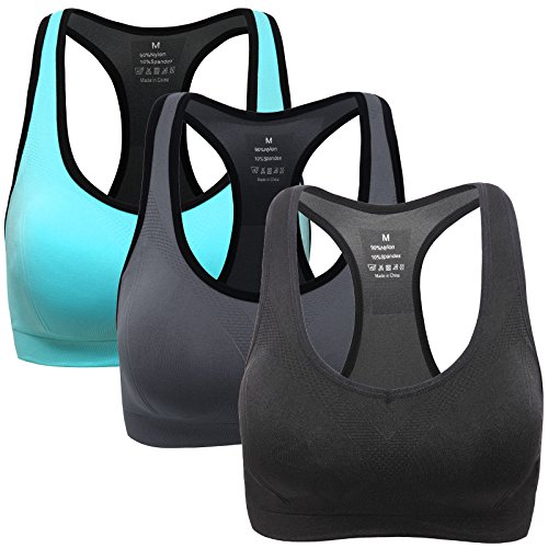 Mirity Women Racerback Sports Bras - High Impact Workout Gym Activewear Bra 3 Pack Black Grey Blue Size 3XL