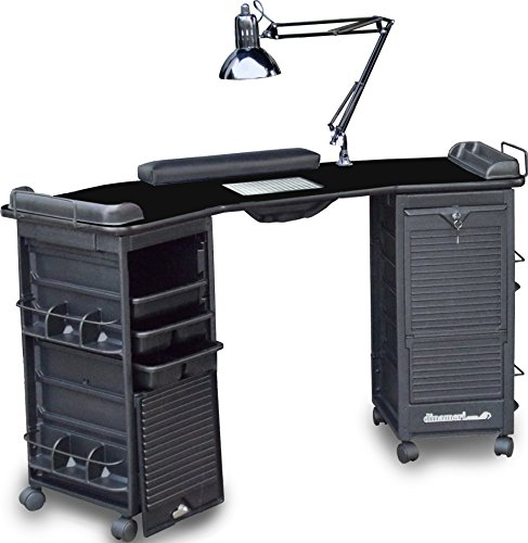 M603 FF VENTED Manicure Nail Table Station w/Double Lockable Cabinets All Black Top by Dina Meri