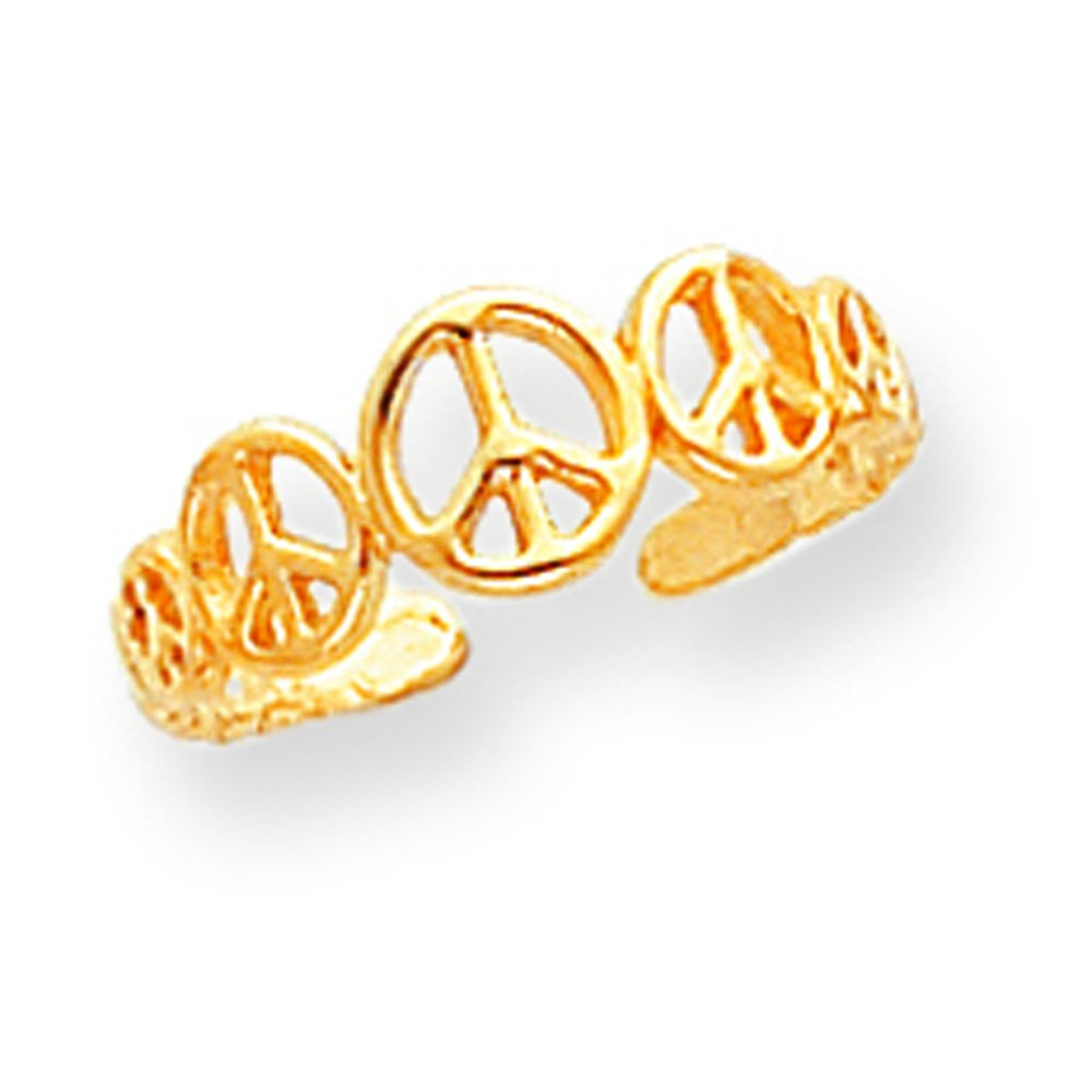 Solid 10k Gold Peace Sign Toe Ring