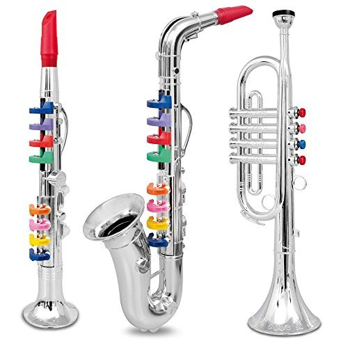 3 Octave Set (Saxophone, Trumpet, Clarinet: Real Instruments that Play Music! Set of 3 Toy Instruments)