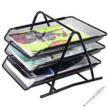 BShop - Organizador de 3 niveles para archivar documentos de oficina con destornillador, color negro