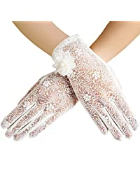 BABEYOND Floral Lace Gloves for Wedding Opera Party 1920s Flapper Lace Gloves Stretchy Adult Size (White)