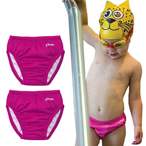 FINIS (2 Pack Reusable Swim Diapers for Newborns Infants Babies & Toddlers Cloth Swimming Diapers