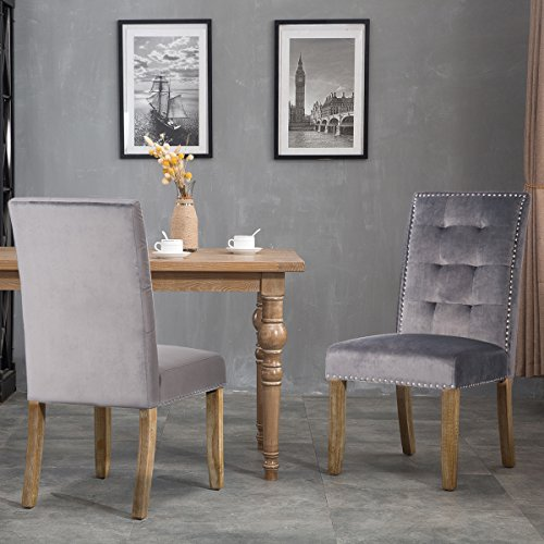 Merax Set of 2 Stylish Tufted Upholstered Fabric Dining Chairs with Nailhead Detail and Solid Wood Legs (Velvet Grey) (Velvet Dining Chairs Upholstered)