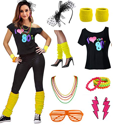 Womens I Love The 80's Disco 80s Costume Outfit ()
