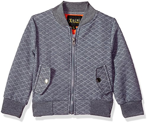 iXtreme Baby Boys Diamond Quilted Knit Bomber, Gray, 3/6M