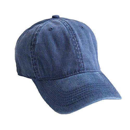 PT FASHIONS 100% Cotton Dad Hat Unisex Washed Twill Cotton Baseball Cap Low Profile Polo Style Unconstructed-01Nostalgic Blue ()