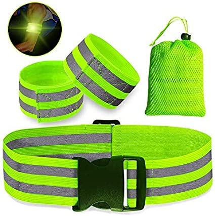 Fashionable Flashing LED Safety Night Reflective Belt Strap Arm Band Cycling