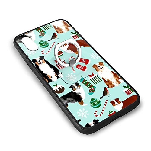 LGOPT Australian Shepherd Christmas Cute Aussie Dogs Fashion Personalized iPhone X/XS TPU Glass Phone Case with Square Stents ()
