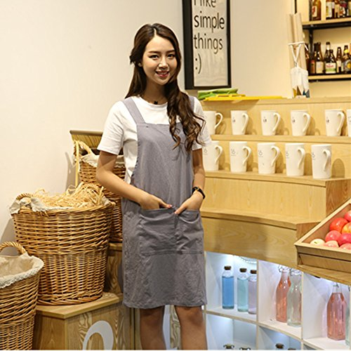 KKTech Japan Style Soft Cotton Linen Apron with Double Front Large Size Pockets Solid Color Halter Cross Bandage Aprons Kitchen Cooking Clothes (Strap style-Gray) by KKTech
