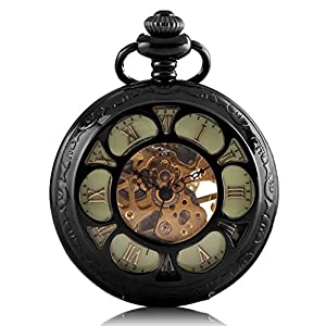 Carrie Hughes Men's Spiderman Vintage Steampunk Skeleton Mechanical Pocket Watch Christmas Gifts