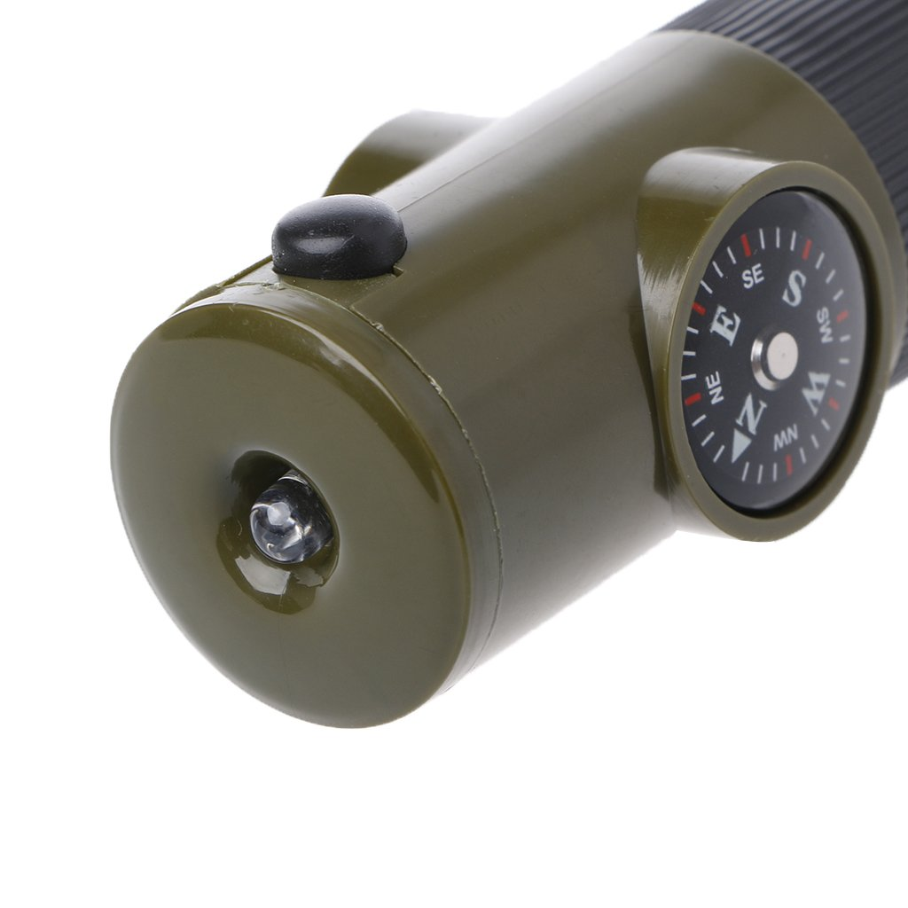 Suweqi Outdoor Survival 7/Tools 7/in 1/Survival Whistle Compass Thermometer Flashlight Magnifier