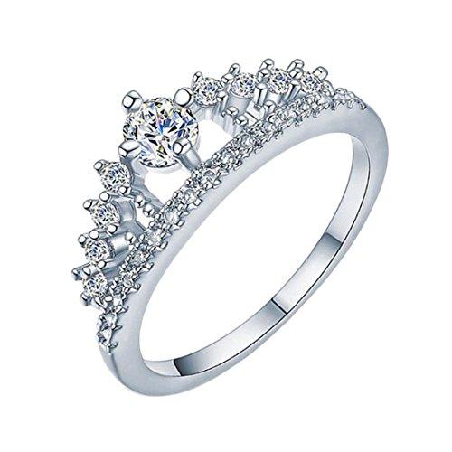Freedi Women Crystal Diamond Engagement Wedding Ring Fashion Jewelry Gift for Girls Size 6 Silver