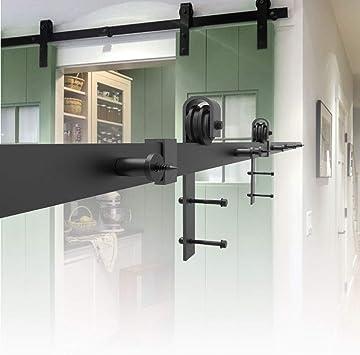 HENGMEI 366cm Accesorios de Puertas Herraje para Puertas Corredera Juego de Piezas de Metal Carril para Puerta: Amazon.es: Bricolaje y herramientas