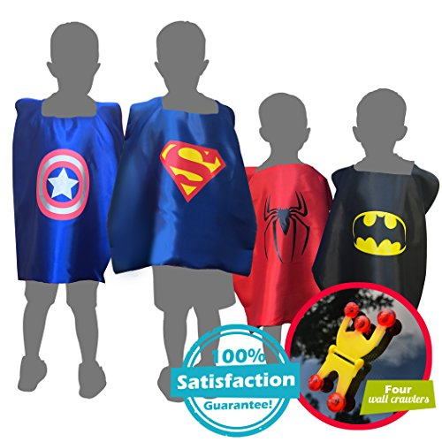 [Cool Children's Superhero Kid Boys & Girls Dress Up Costume Set, 4 Capes & Masks] (Easy Homemade Halloween Costumes For Newborns)
