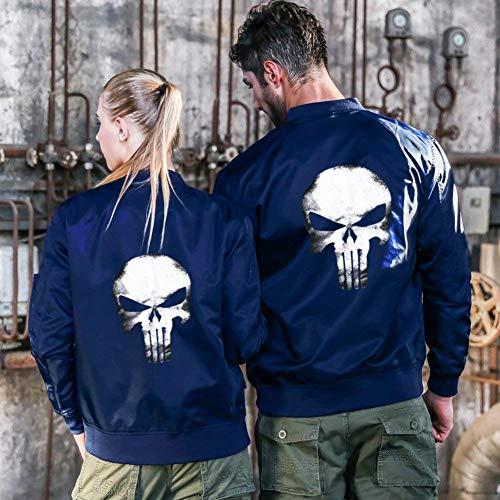Los De De Jacket Blau Lino De Modelado Chaqueta Vuelo Manga Chaqueta Flight De Larga Acolchado Bombardero Hombres Collar Delgado Chaqueta Cráneo De Jacket wgExBHt