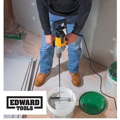 "Edward Tools Paddle Mixer 27"" for 3/8"" power drill - Industrial Paddle Mixer for paint, concrete, drywall compound and more - Speed Mixer concrete tool is ideal mixing tool for 5 gallon bucket"
