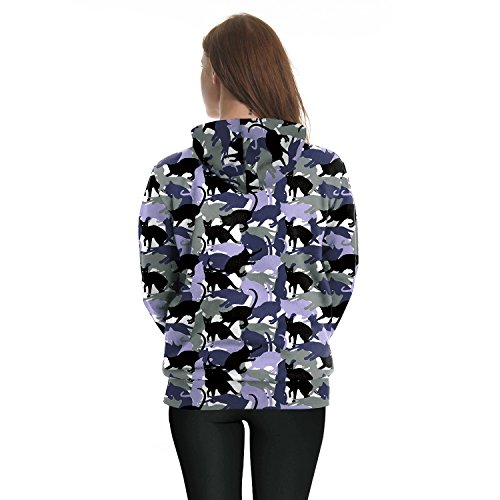 womens fashion Pullover Hoodie camouflage wild cat Hooded Sweatshirts