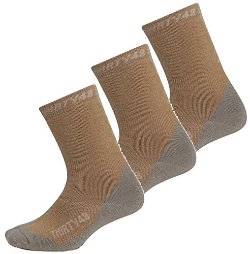 Premium Hiking Socks by Thirty48 :: Cushioned Anti-Bacterial Vegan Wool :: HK Series :: Thermal Performance Crew Socks :: Anti-Odor Moisture Wicking Poly :: Best Socks for Hiking, Mountain Climbing, Winter, Outdoor, Boots, Camping, Travel :: Money Back Guarantee 3 Pack Brown/Gray X-Large