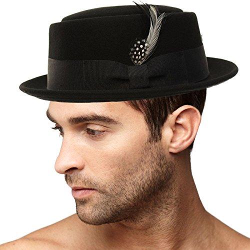 Men's Winter Premium Wool Felt Boater Porkpie Derby Flat Fedora Hat - Bad Breaking Pork Pie Hat