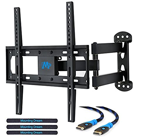 Mounting Dream MD2377 TV Wall Mount Bracket for most of 26-55 Inch LED, LCD, OLED Flat Screen TV with Full Motion Swivel Articulating Arm up to VESA 400x400mm and 60 lbs with (Tv Led De 28)