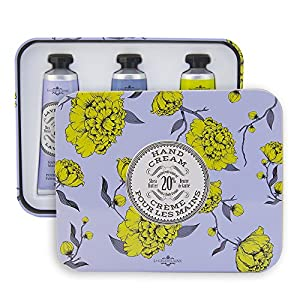 La Chatelaine 20% Shea Butter Hand Cream Travel Size Tin Gift Set, Lavender, Lychee Bilberry, Lemon Verbena