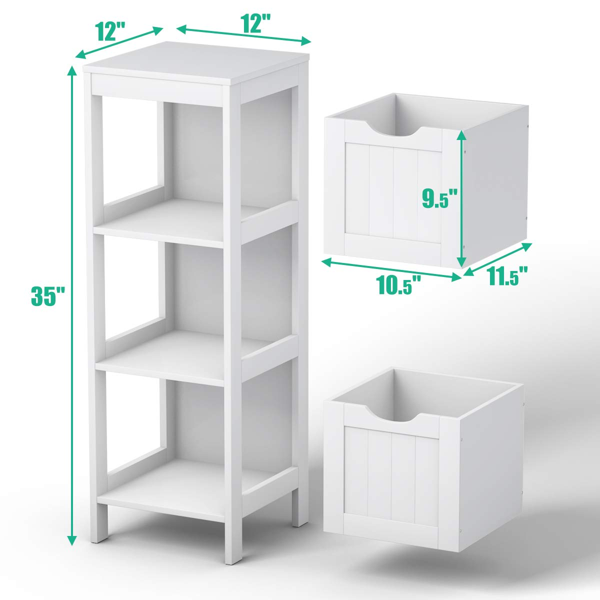 12 x 12 x 35 Tangkula Floor Cabinet Wooden Storage Cabinet for Home Office Living Room Bathroom Side Table Sturdy Modern Drawer Cabinet Organizer with 2 Drawers Bedroom Night Stand White