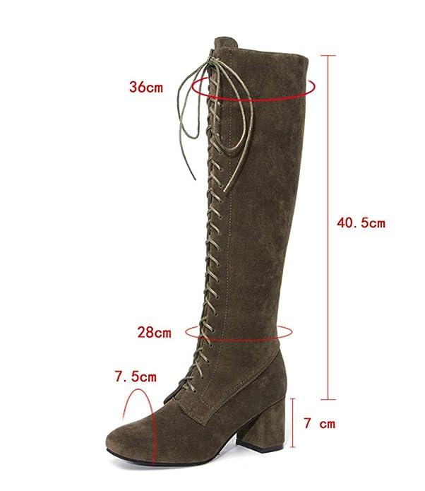 Botas y Botines Altos Botas XL para Mujer Otoño Invierno Moda 2018 PAOLIAN Botas Militares cuña con Cordones Tacón Ancho Zapatos de Punta Señora Calzado ...