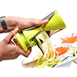 Best Spiralizer Vegetables Slicer 4 Interchangeable Stainless Steel Blade | 4 Julienne Cuts Spiralizer, Slicer, Shredder, Ribbons, Zoodles | No-Slip Grip Handheld Cleaning Brush | Dishwasher Safe