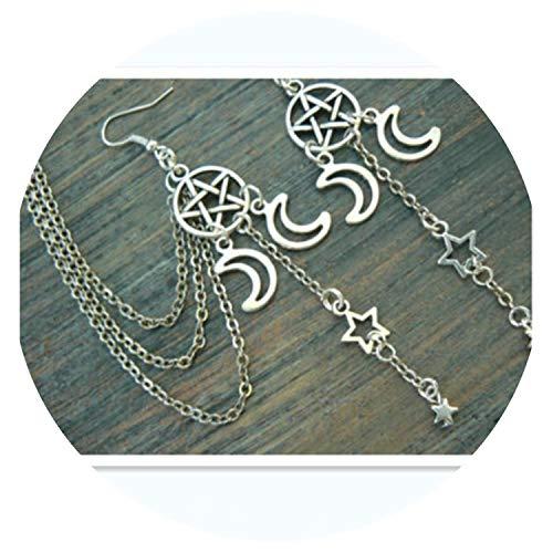 (pentagram ear cuff earring chained set Triple moon ear cuff pentacle fantasy )