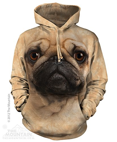 The Mountain Pug Face Pull Over Hoodie Men's Tan Sweatshirt 2XL