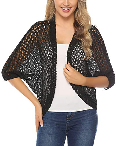 Hawiton Women's 3/4 Sleeve Shrug Lace Crochet Open Front Cardigan Bolero Jackets Black