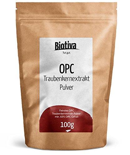 OPC Traubenkernextrakt Pulver (100g) I Hochdosierte Premium-Qualität I Garantiert ohne Zusatzstoffe und Rieselhilfen I aus reifen, roten Weintrauben