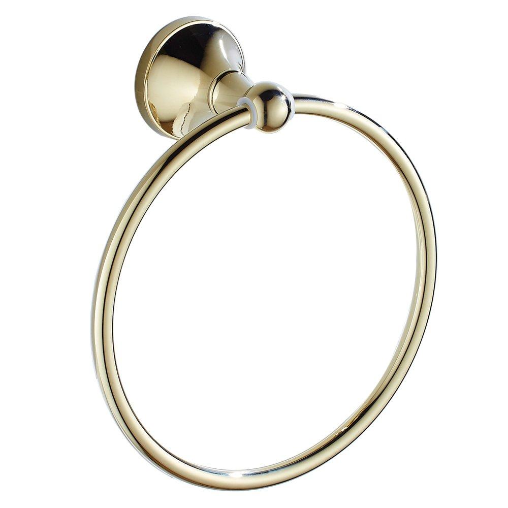 Bathfirst Modern brass Towel Ring Wall Mounted luxury Gold Circle Base Bathroom Accessory