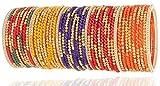 NMII Beautiful & Fashionable Multicolor Designer Beads Pattern & Glossy Glass Bangle for Women & Girls on Wedding & Festive Occasions