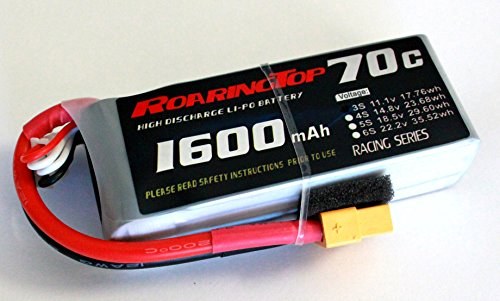 RoaringTop LiPo Battery Pack 70C 1600mAh 3S 11.1V with XT60 Plug for RC Car Boat Truck Heli (1600 Boat)