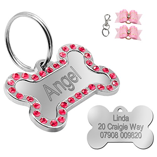 License Pet Tag - Didog Rhinestone Custom Pet ID Tags, Bone Shape,Free Engraved and Gifts, Bone Shape,Pink